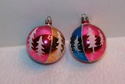 Vintage Pair Hand Painted Trees Glass Christmas Ornaments Poland