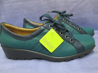 Ladies Hotter Comfort Concept Leather Teal / Navy Walking Style Shoes Size 8