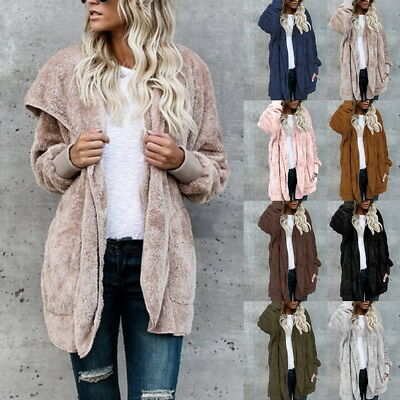 US HOT Women's Long Oversized Loose Knitted Sweater Cardigan Outwear Coat Top DS