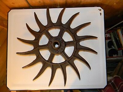 Antique Cast Iron Cultivator Wheel Sun Star Wall Garden Art Industrial