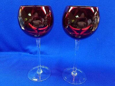 "2 Lenox Red   8 3/4"" 12 oz Balloon Wine Glasses  HOLIDAY OPTIC"