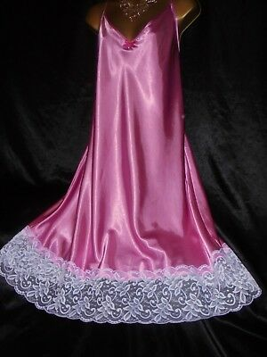 Stunning silky satin nightie dress mini slip negligee nightdress pink 20