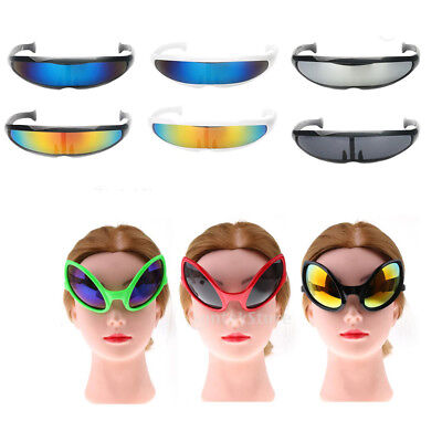 Novelty Futuristic Cyclops Mirrored Sunglasses Monoblock Shield Alien Glasses
