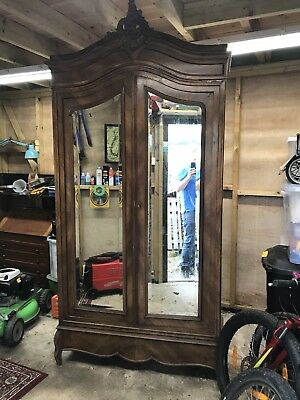 French Walnut Louis XV Rococco Armoire Wardrobe Mirror Shelves And Drawers