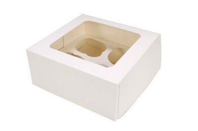 Windowed Cupcake Boxes for 4, 6, 12 & 24 Cup Cakes with Removable Trays