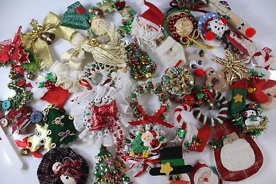 Vintage Christmas Lot of 42 Handmade Brooches Pins for Crafts  🎄