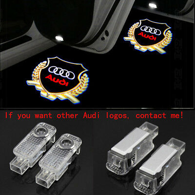4X Laser LED Gold Logo Door Lamp Puddle Courtesy Projector Shadow Light For AUDI
