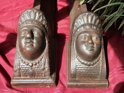 Vintage Antique King & Queen Cast Iron Fire Dogs Figural Andirons From England
