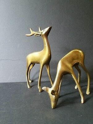 Vintage/antique Solid Brass Deer Figurine Buck And Doe Pair