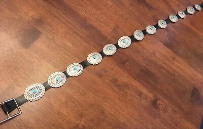 Old Pawn Vtg Native American Concho Belt Turquoise Jewelry GIFT Sterling Silver!