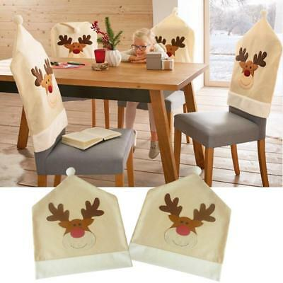 Christmas Chair Covers Xmas Dinner Table Decor Elk Dining Party Hat Gift Idea