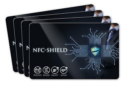 4x NFC Shield Card - NFC & RFID Protection / RFID Blocking Card for Credit Cards