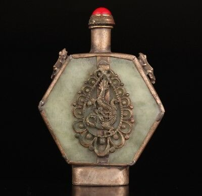 Ancient Chinese Silver Jade Snuff Bottle Old Dragon Phoenix Collect