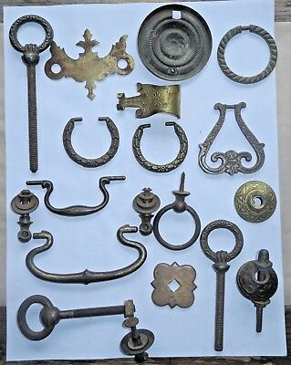 Antique 15 pc Mixed LOT Drawer PULLS Cabinet Hardware Part Architectural Salvage