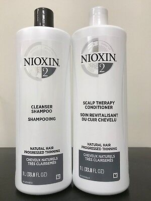 Nioxin System 2 Cleanser & Scalp Therapy Duo 33.8 oz/ 1L NEW!!!