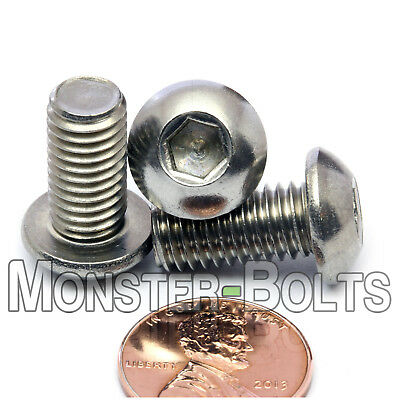 M8 - 1.25 x 16mm Stainless Steel Button Head Socket Hex Cap Screws, A2 ISO 7380