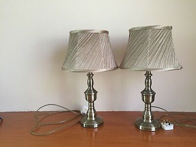Large Pair Of Vintage  Brass Steel Lounge Table Lamps With Vintage Shades