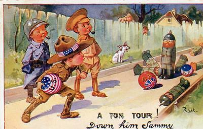Bowling Military Comic WW1 by Right  unused old pc Lapina