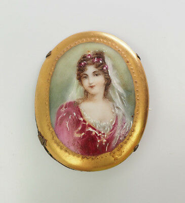 Beautiful antique Victorian ceramic hand painted woman portrait brooch pin