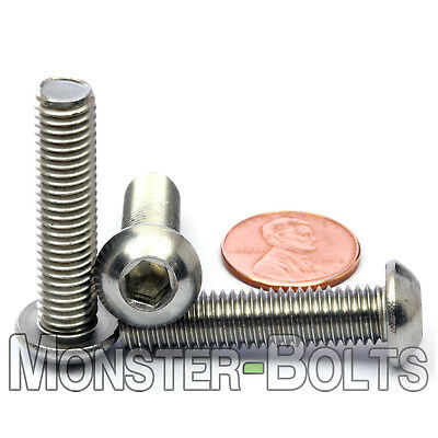 M8 - 1.25 x 35mm Stainless Steel Button Head Socket Hex Cap Screws, A2 ISO 7380