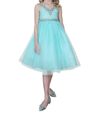 Bridesmaid Pageant Flower Girl Wedding Tulle Dress VNeck Rhinestone sz 2-16 Aqua