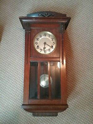 Antique Dark Wooden Case Wall Clock With Pendulum And Key