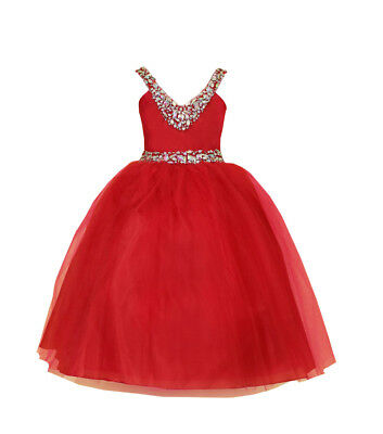 Bridesmaid Pageant Flower Girl Wedding Dress V-Neck Rhinestone sz 2-16 RED