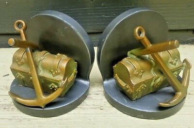 Bronze Brass Anchor Treasure Chest Bookends Nautical Decor Vintage Heavy Metal