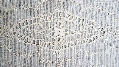 """Antique Tambour Lace Table Runner Dresser Scarf 13"""" x 44"""" Floral"""