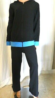 Nwt Cascade 2X/3X Black Turquoise Knit Yoga Warm Up Sweat Track Suit