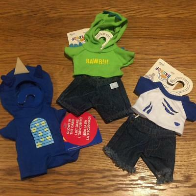 Build A Bear Factory 3 Smallfrys/buddies Outfits Incl Zombie/dragon/dino Bnwt