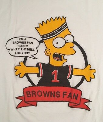 vintage bootleg bart the simpsons nfl cleveland browns t shirt