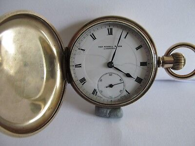 Vintage Tho's Russell & son pocket watch full hunter very good cond and working