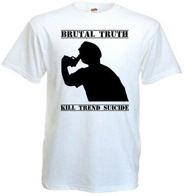 Brutal Truth v24 Kill Trend Suicide T-shirt white grindcore all sizes S-5XL