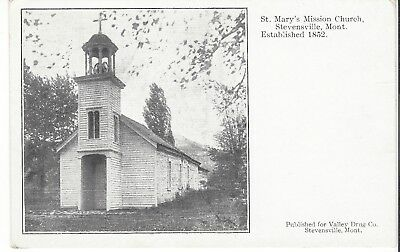 Postcard Rppc St. Mary's Mission Church Stevensville Montana Established 1852