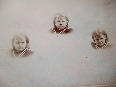 2  Antique Cabinet Cards Photo Menomonee Mich Early Smple 3 Images Boy On Chair