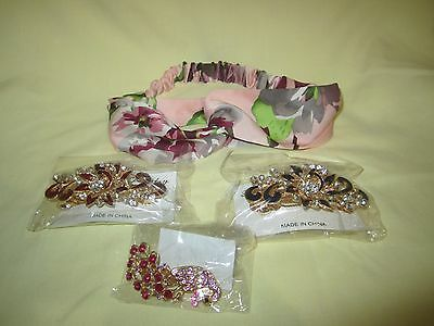 Lot of 4 Pieces Brand New Women Hair Accessories 3 Hair Clip 1 Head Band