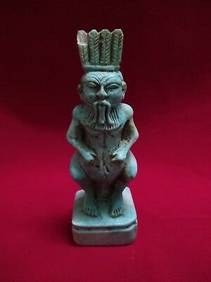 Rare Ancient Egyptian Antiques statue of God Bes (654 BC)