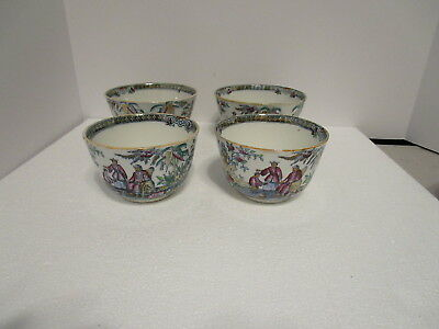 4 JB James Beech B&H Hancock Pekin Ironstone Transfer Asian Design Rice Bowls