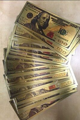 """25 pcs """"New Style"""" .999 24kt Gold Leaf  $100 notes (Slightly Less Than Perfect)"""