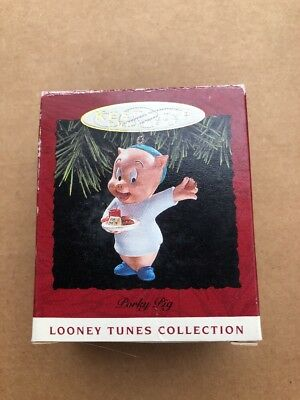 Looney Tunes Porky Pig Hallmark Christmas Ornament Set 1993 BC