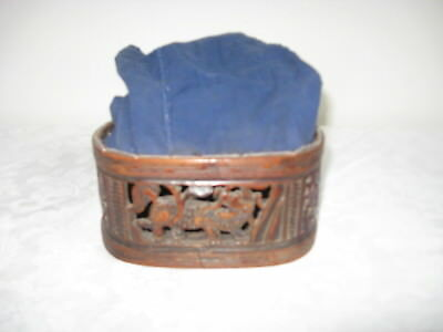 Antique Asian Handcarved Wooden Bait Cricket Basket