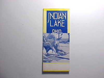 1950s INDIAN LAKE OHIO MAP BROCHURE WITH 46 VIEWS OF STORES, DINERS ETC. VG+