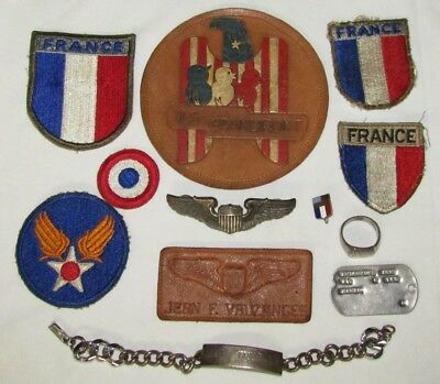 """Rare Named U.S. Trained WW2 French Pilot Wings/Patch Grouping-""""Ils Grandiront"""""""