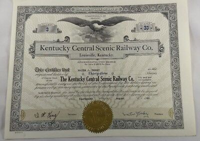 Kentucky Central Scenic Railroad Company. Stock Certificate #3 Louisville KY