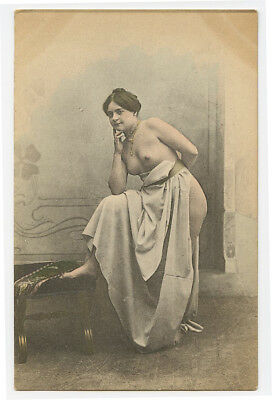 c 1910 French Nude RISQUE LADY roto photo postcard