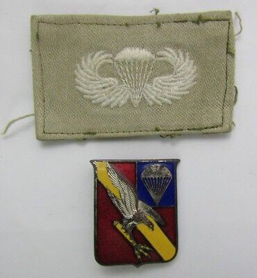 2pcs-WW2 US Airborne 464th PFAB Insignia-Cloth Wings For the M42 Jump Jacket