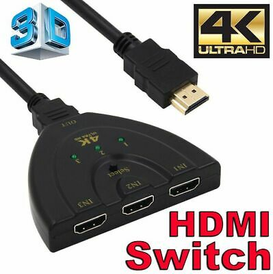 4K Ultra HD 3 Way HDMI Switch Box Splitter 1080P HDTV Auto 3 Port IN 1 OUT Cable