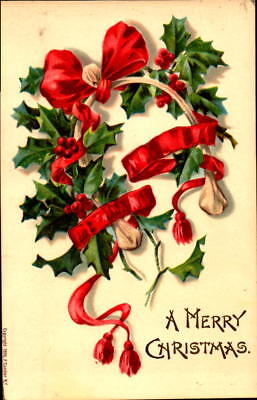 Postcard A Merry Christmas embossed Holly Ribbons unused