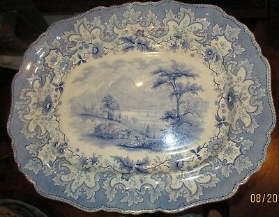19th Century British Lakes R.S. & S Transferware Large Blue Platter 19 1/2""